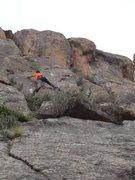 Rock Climbing Photo: Matt working his way up the finger crack.