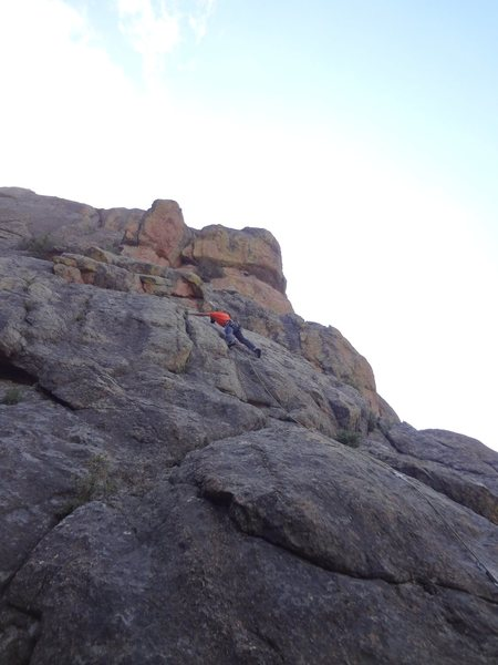 Rock Climbing Photo: Matt reaching the rail.