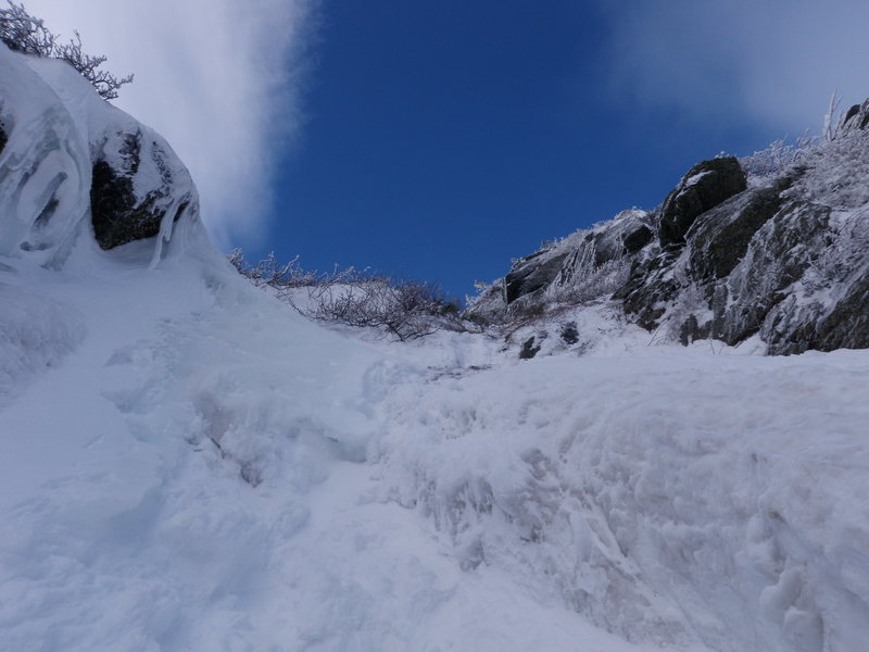 Nearing the top of south gully