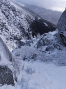 Rock Climbing Photo: Looking down south gully toward the base of huntin...
