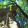 """Don Simmons tackles the 5.8 crux of """"Slot Nose"""""""