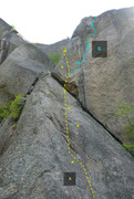 Rock Climbing Photo: A - C'est bon quand c'est long, 5.10 B - �...