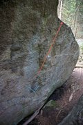 Rock Climbing Photo: This photo shows the starting hold (blue) and the ...