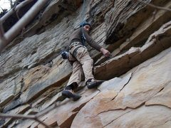 Rock Climbing Photo: Climbing Partner getting into the first rest area ...