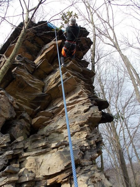 Rock Climbing Photo: Easy warm up route, fun.  At front near entrance b...