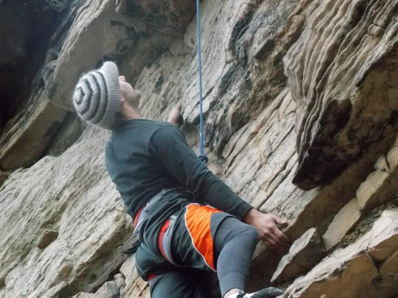 Main wall on Double Chin route looking for my next move