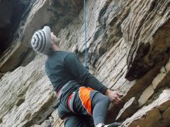 Rock Climbing Photo: Main wall on Double Chin route looking for my next...