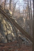 Rock Climbing Photo: Far right of the Basilisk wall in morning light. B...