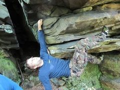 Rock Climbing Photo: Me on first big flake of 3-D, actually working a s...