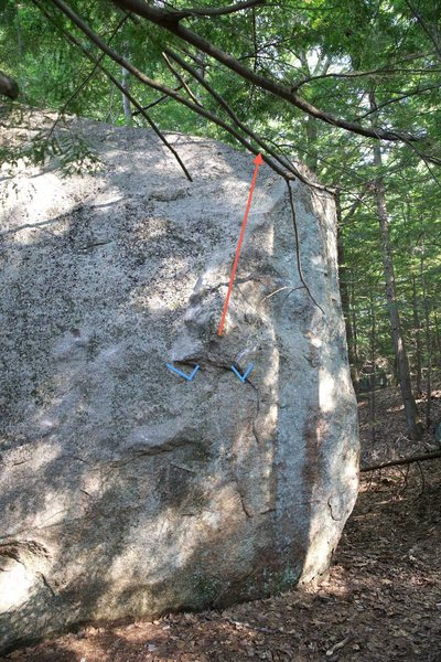 Rock Climbing Photo: This photo shows the starting holds (blue) and gen...