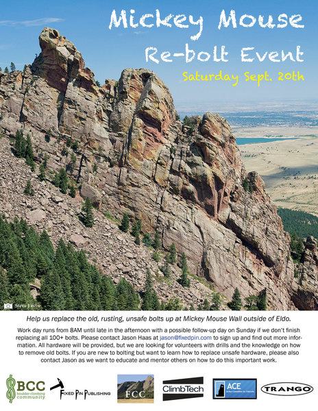 Rock Climbing Photo: Mickey Mouse Re-bolt Event flyer.