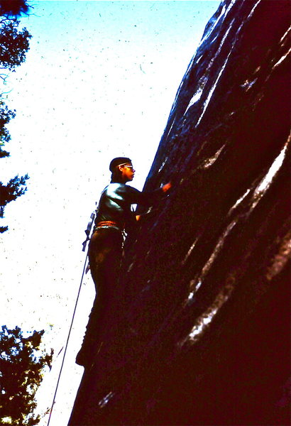 Rock Climbing Photo: Peter Hayes, 1973, getting set to edge up and left...