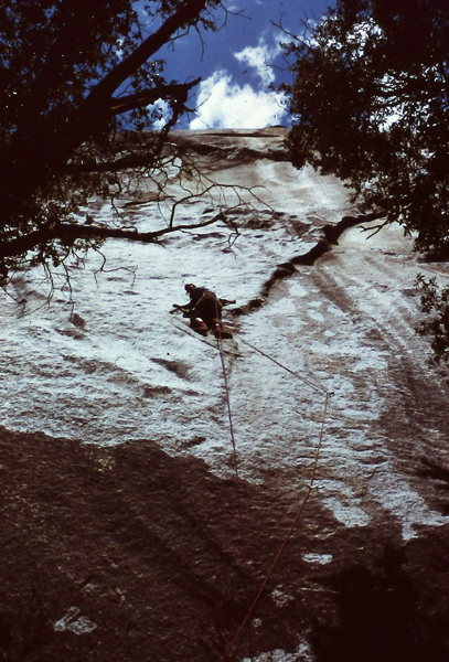 "Rock Climbing Photo: Peter Hayes attempting the first ascent of ""H..."