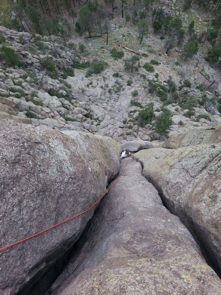 Rock Climbing Photo: Me above the leaning column, starting on the 'Durr...