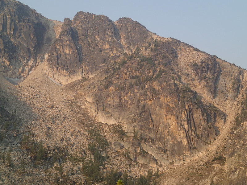 Upper and Lower East Faces of Windy Peak (from Windy Lake)