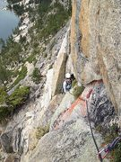 Looking back on P1 belay and the start of the ramp pitch