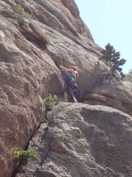 Rock Climbing Photo: Sasha stepping left before the small ledge and cru...
