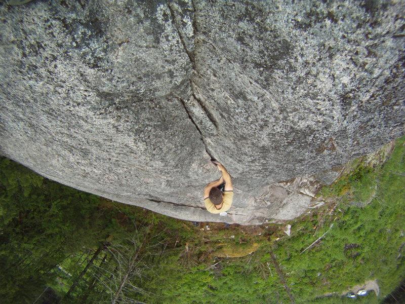 Rock Climbing Photo: J soloing the FA