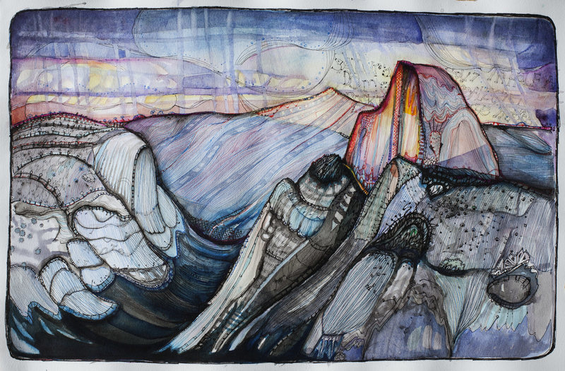 """Rock Climbing Photo: Saturated Dome - 20""""x 12"""" pen/ink/waterc..."""