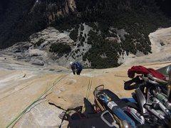 Rock Climbing Photo: Wayne jugging on the tangerine trip push in jan 20...