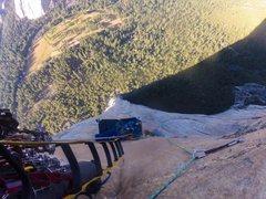 Rock Climbing Photo: Belaying in my sleeping bag on the shield head wal...