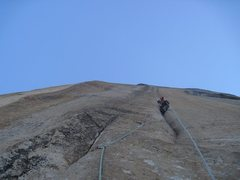 Rock Climbing Photo: Jaysen leading the groove pitch in the morning. On...
