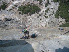 Rock Climbing Photo: Belaying up high on zodiac.