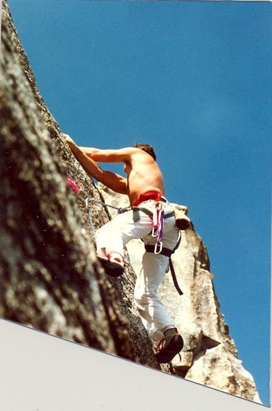 Rock Climbing Photo: Peter Hayes passing the crux on P1, '87.
