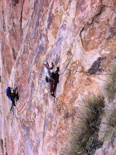 First free-hanging multipitch on El Cajon Mountain.<br> (Meteor, 5.8 4 pitches
