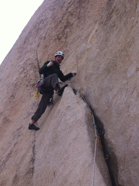 First climb in Joshua Tree. <br> Overhang Bypass, 5.7 2 pitches