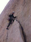 First climb in Joshua Tree.  <br />Overhang Bypass, 5.7 2 pitches