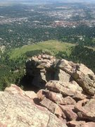 Rock Climbing Photo: Working the traverse pitches on the First Flatiron...