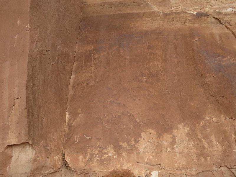 Rock Climbing Photo: An old, faint panel of petroglyphs.
