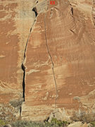 Rock Climbing Photo: Route with anchors marked.