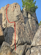 Rock Climbing Photo: Route line marked.
