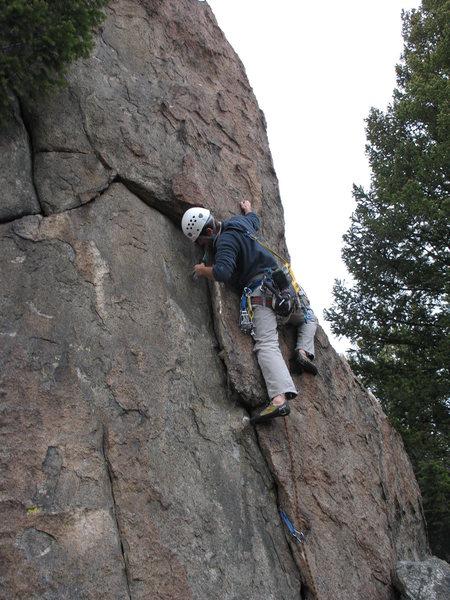 Rock Climbing Photo: Trevor leading the FA.