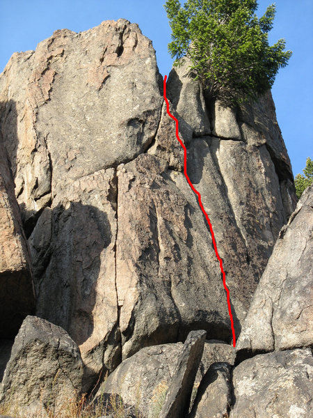 Rock Climbing Photo: Route marked.