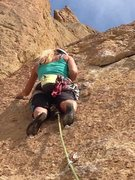 "Rock Climbing Photo: Heather leads ""Hop on Pop"". The crux see..."