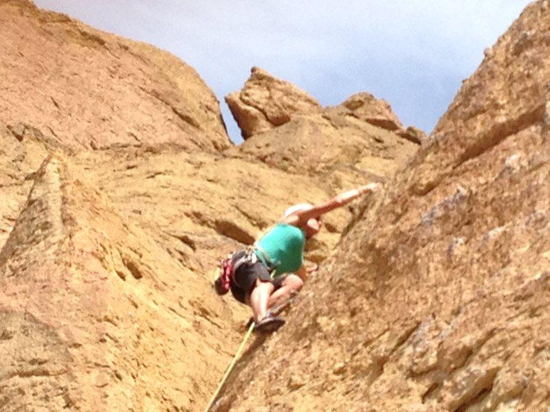 Rock Climbing Photo: Heather on the way up