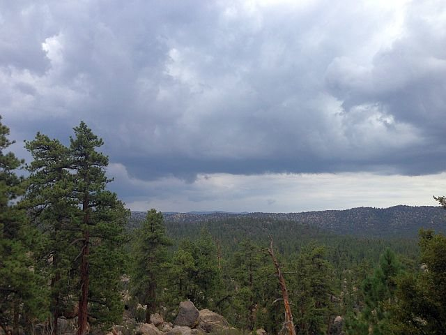 Rain clouds from the Gold Wall, Holcomb Valley Pinnacles