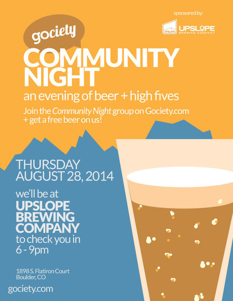 Gociety & Upslope Community Night for Outdoor folks