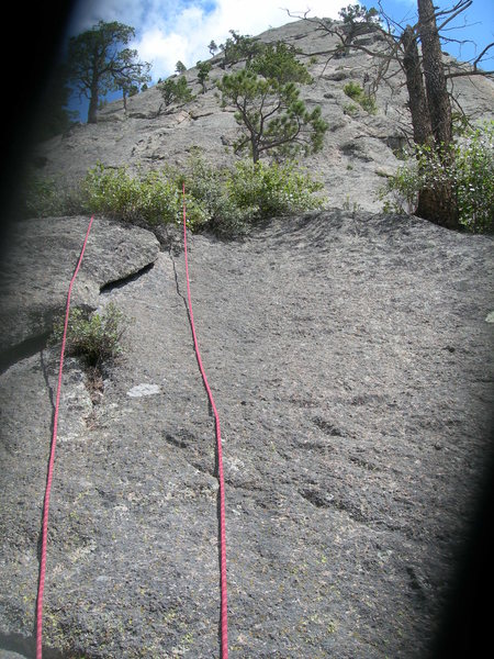 The very start of the climb shown via a messed up photograph when the camera cover didn't completely open.