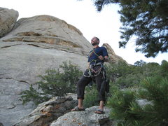 Rock Climbing Photo: Triumphant after descending. Route starts just out...