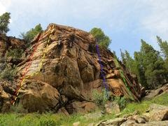 "Rock Climbing Photo: Dog Wall: Red - ""K9"", 5.9. Yellow - &quo..."