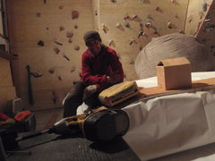 Rock Climbing Photo: Gluing the vinyl seams together then weighting the...