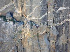 Rock Climbing Photo: Tague Yer Time - zoom across canyon.