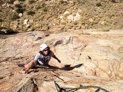 Rock Climbing Photo: Tim Esqueda finishing up the crux of pitch 1!