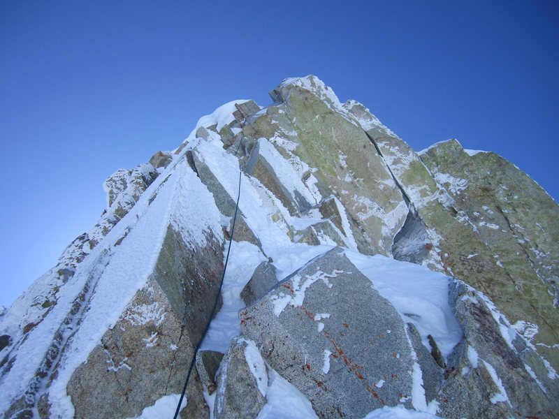 Rock Climbing Photo: What may have been the crux pitch of the ridge, cl...