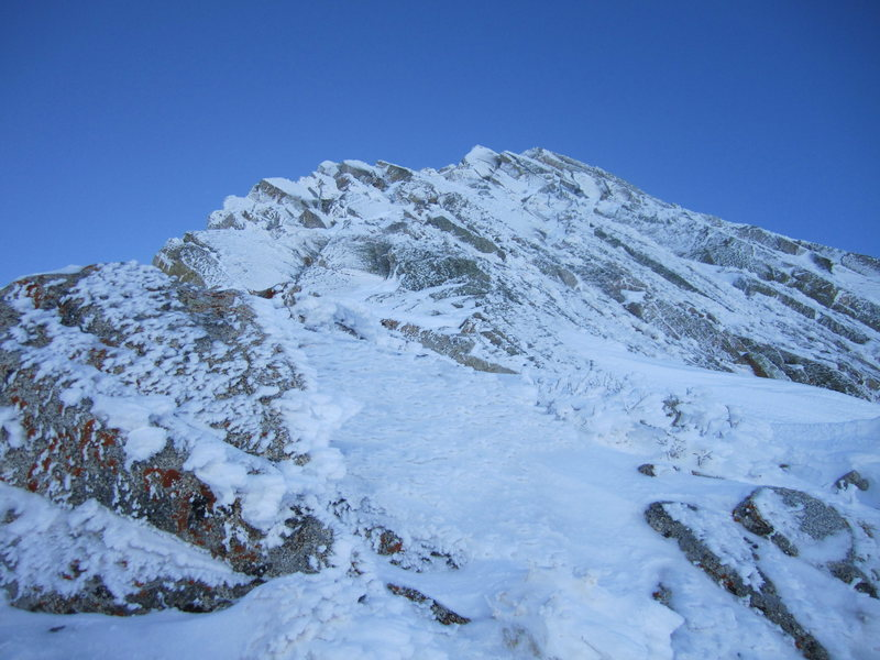 Looking up the first pitch after gaining the ridge using the steep couloir.