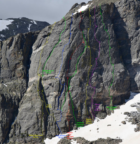 Topo of selected routes on Hallett's Second Buttress, RMNP.